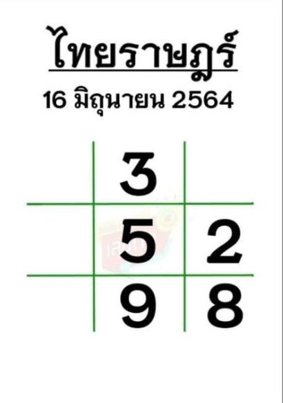 หวยไทยราษฎร์ 16/6/64