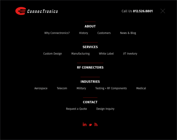 Connectronics - Mega menu overlay