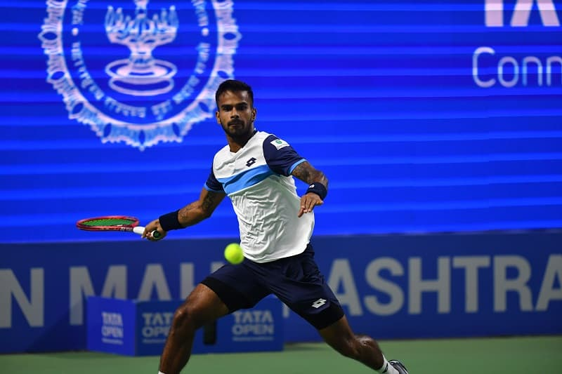 Sumit Nagal in action at the Pune Open 2020