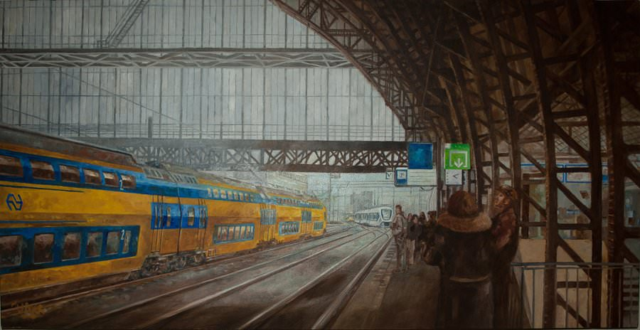 """Central Station Amsterdam. Oil on canvas. 36"""" x 18"""". Sold"""