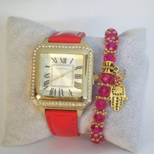 Montre Classique Rouge avec Bracelet Khmissa