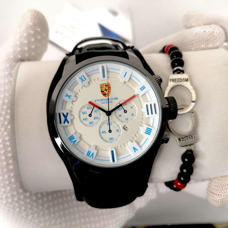 Montre Porsche Cuir Noir Blanc haut de gamme + Bracelet