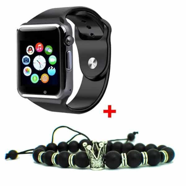 Smart Watch Montre Connectée avec carte sim - argenté + Bracelets Trone Royal