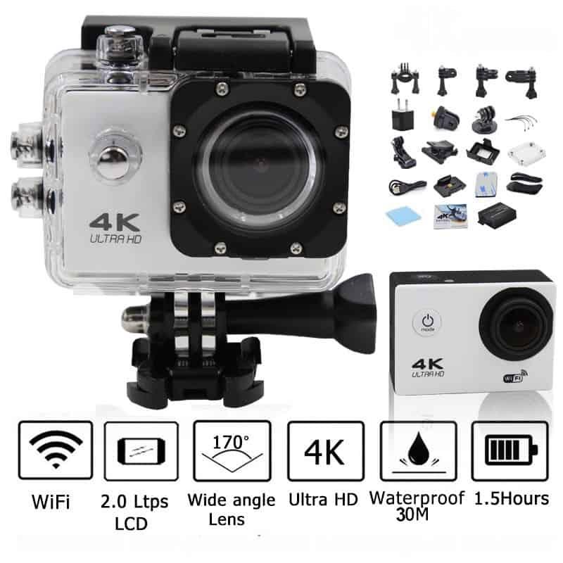 Caméra Action Ultra HD 4K Sports Wifi + Accessoires + Trépied  - Silver