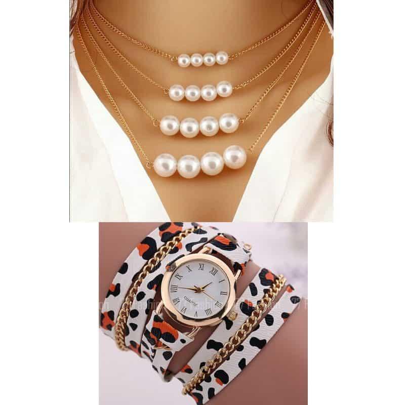 Montre Bracelet + Collier perles X3