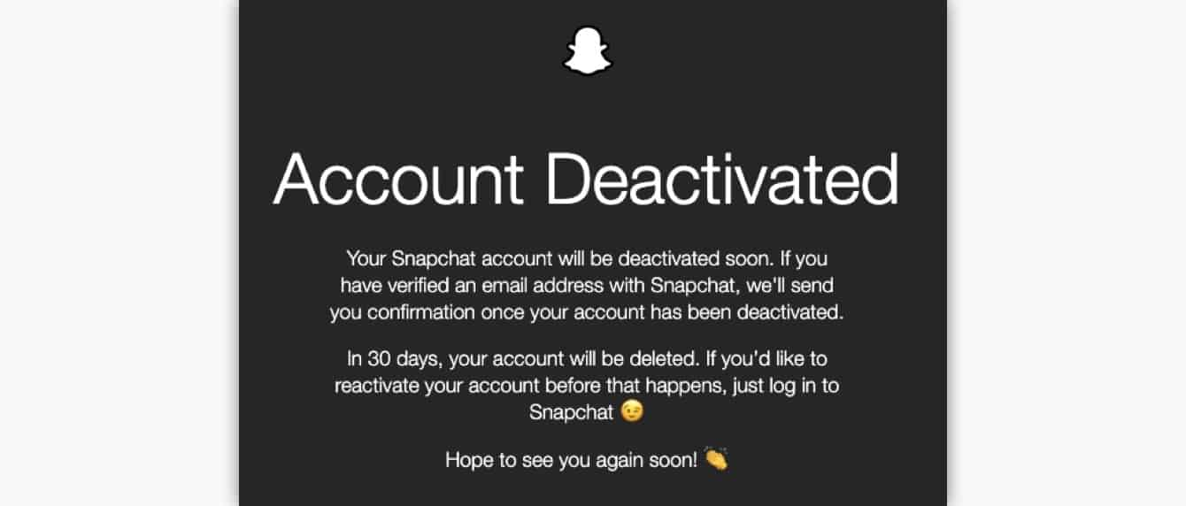 snapchat's account deactivated confirmation