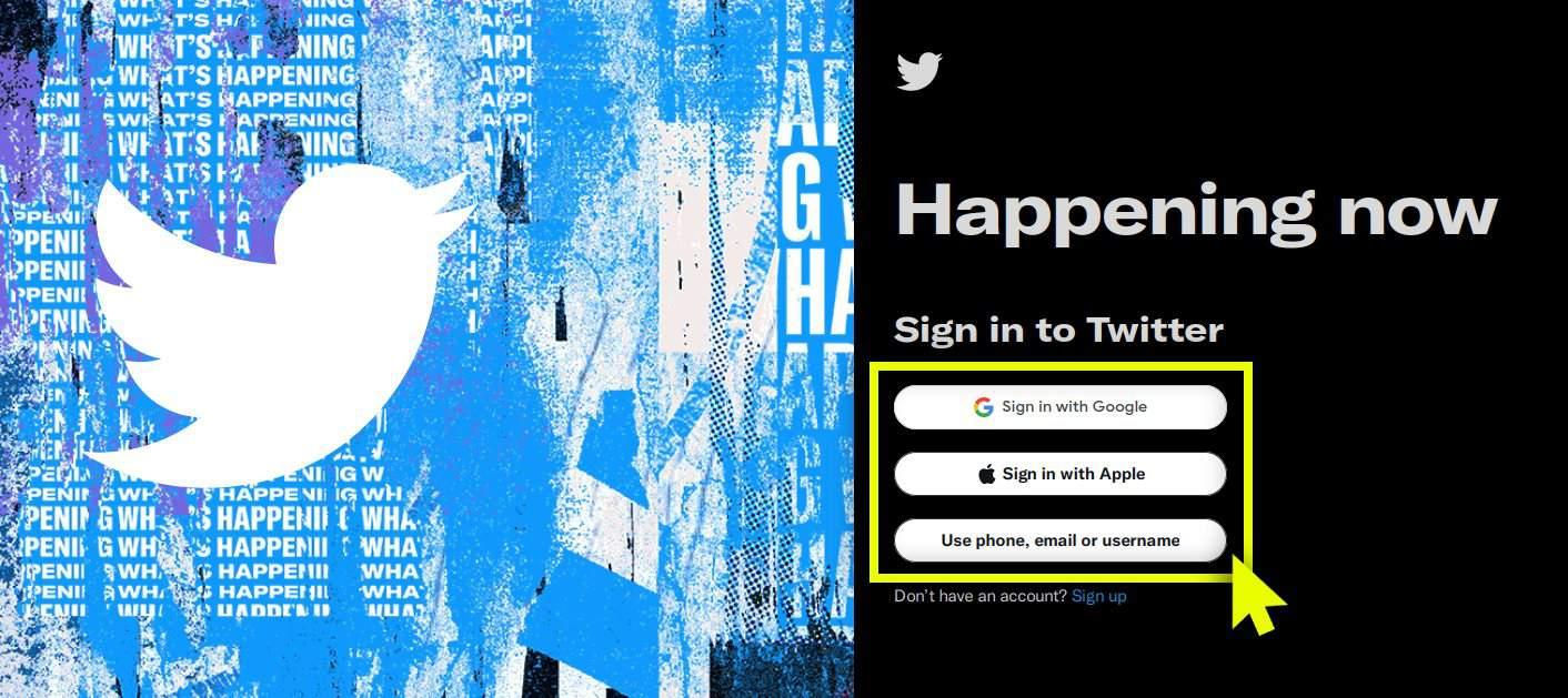 Twitter login page.