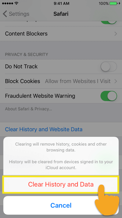 clear history and data for safari