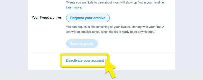 """Twitter menu with """"Deactivate your account"""" highlighted."""