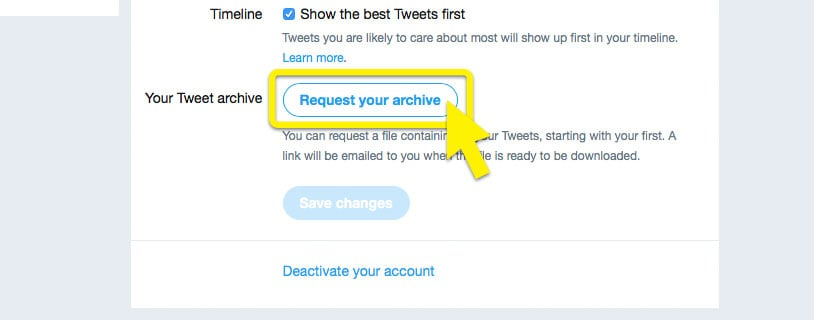 """Twitter settings page with """"Request your archive"""" highlighted."""