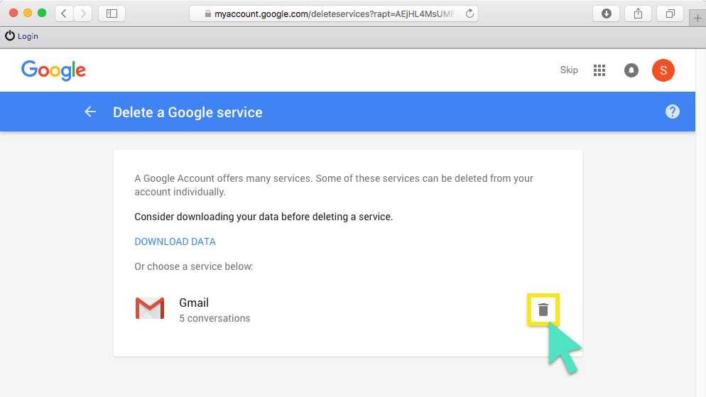 Delete a Google service screen with trash can button highlighted.