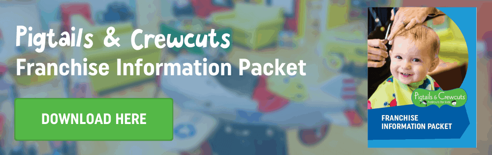Visual call-to-action to download Pigtails & Crewcuts franchise information packet
