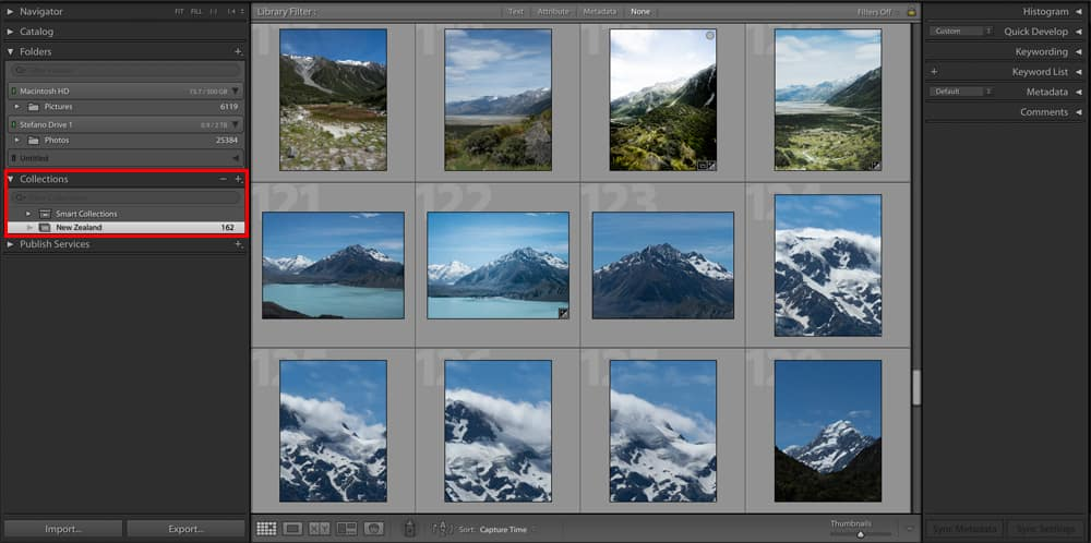 Lightroom create Library Collections