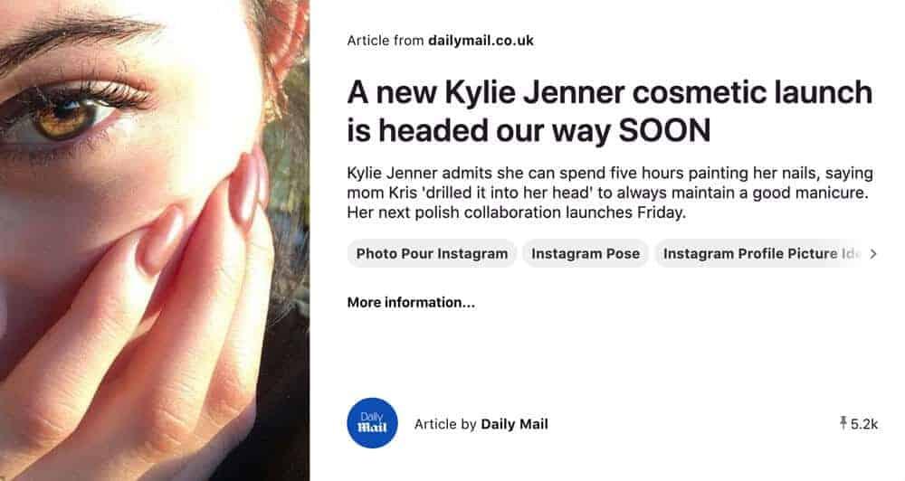 Kylie Jenner image from Pinterest
