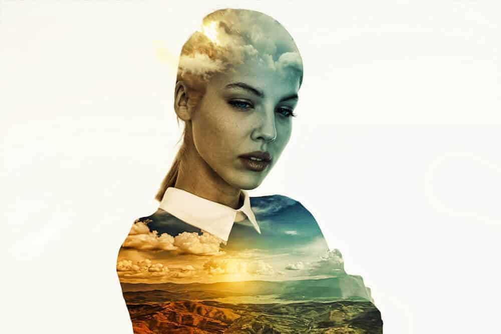 Double Exposure Photography girl mountains background