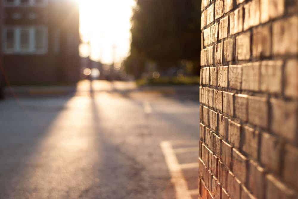 wall at sunset