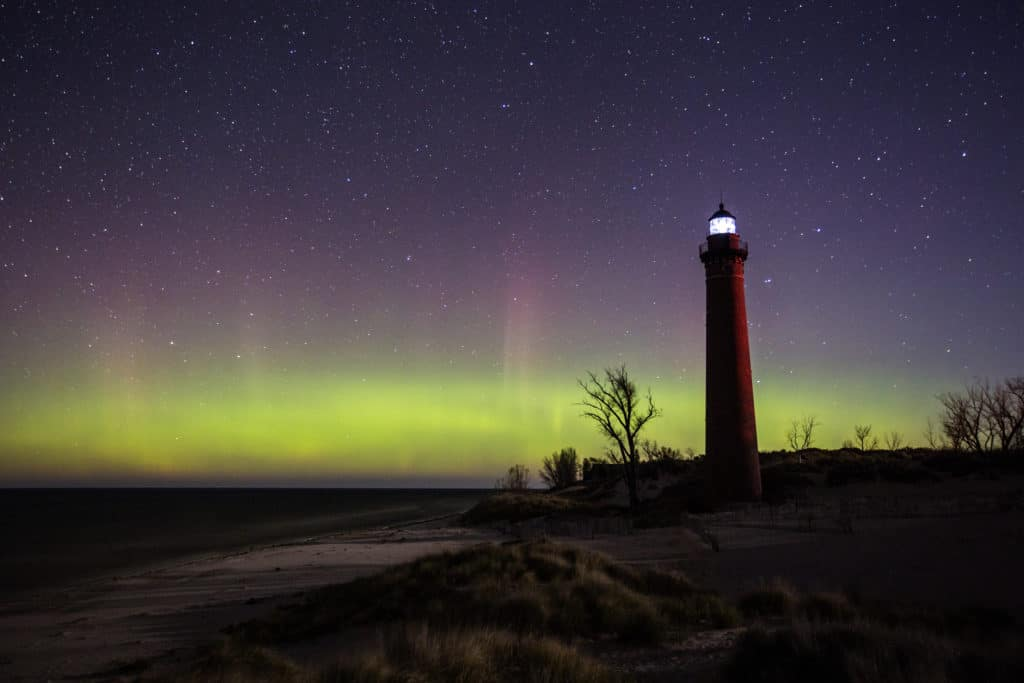 Little Sable Point Lighthouse, Michigan Northern Lights.