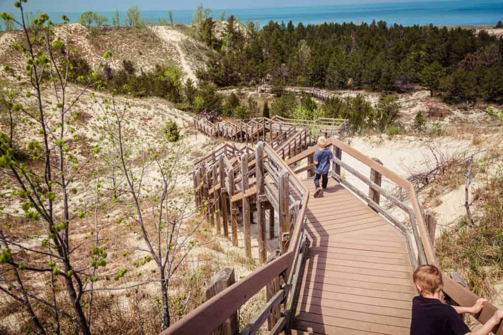 Boardwalk steps down a dune at Indiana Dunes National Park.