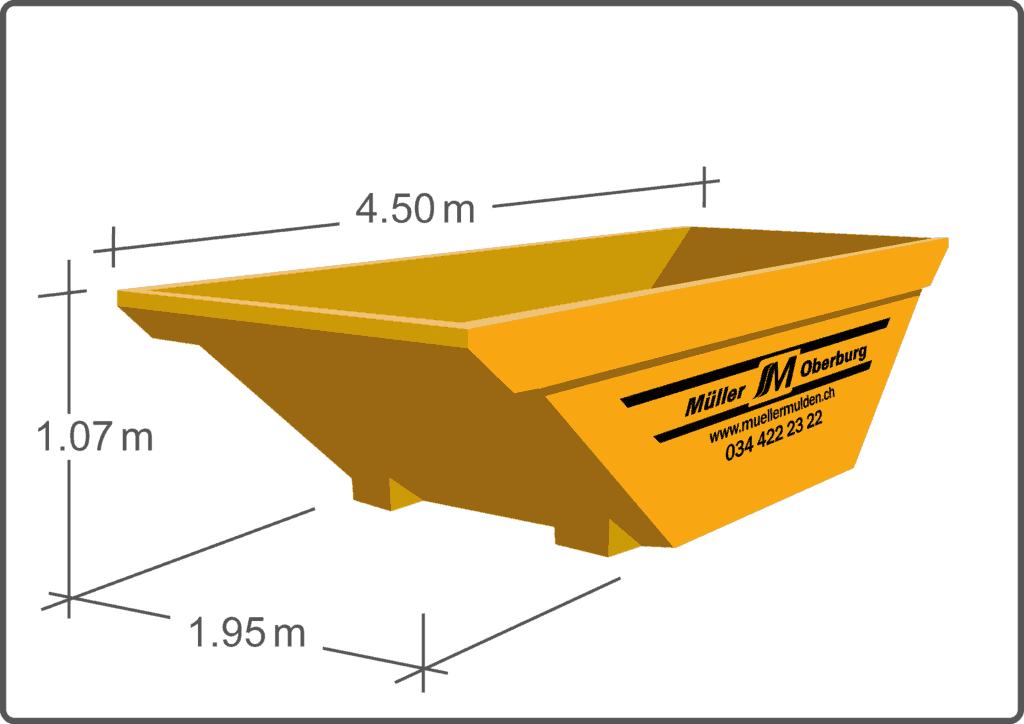 Die 7 m3 Mulde ist gut bei grosszügigen Platzverhältnissen und grossen Mengen an Transportgut.