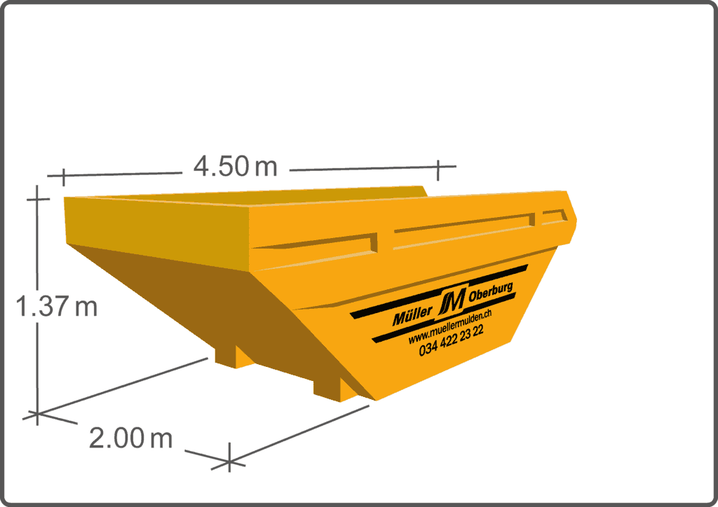 Die 8.5 m3 Mulde ist unser Volumenwunder. Estrichräumungen und Altholzentsorgungen sind Ihre Spezialität.