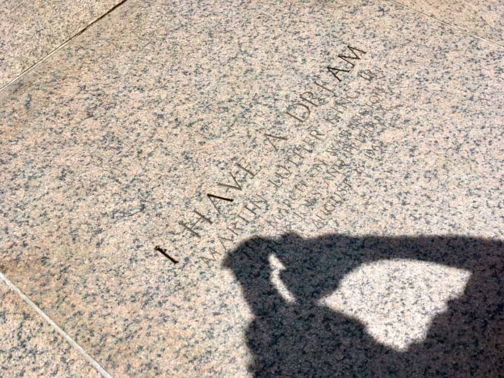 """Carving marking the spot of Martin Luther King, Jr.'s """"I Have a Dream"""" speech, given August 28, 1963, outside the Lincoln Memorial in Washington, DC."""