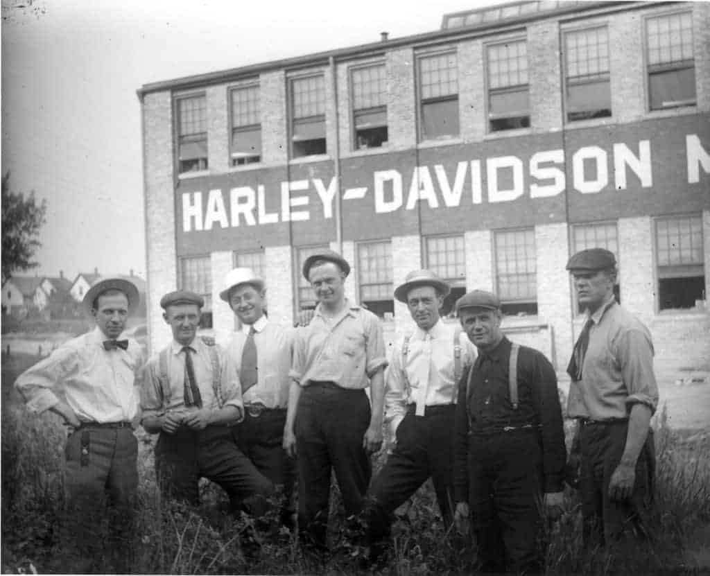 Harley-Davidson founders and a few other workers outside of the flagship factory.