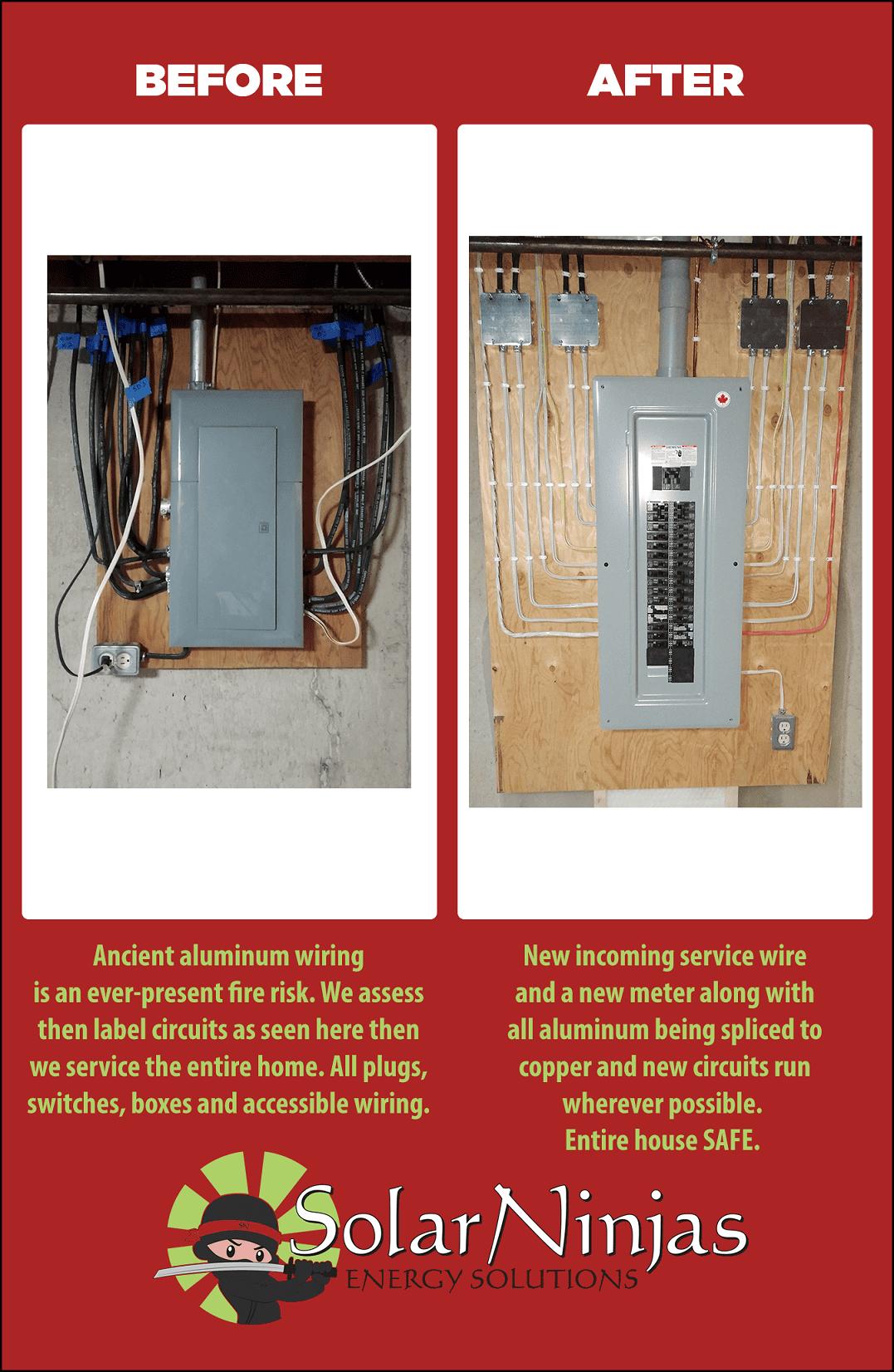 SolarNinjas Aluminum Wiring Before & After
