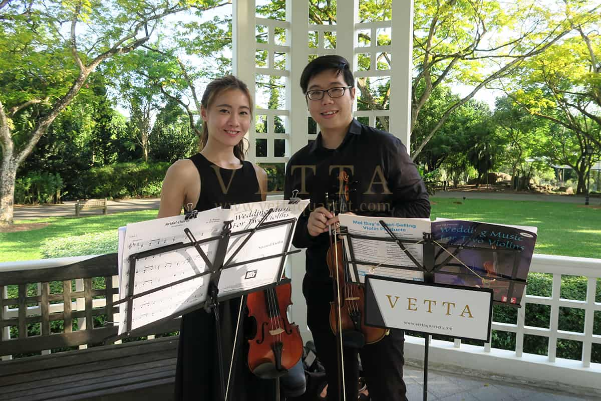 Violin Duo for Liyi and Clement's Wedding at Botanic Gardens, Bandstand