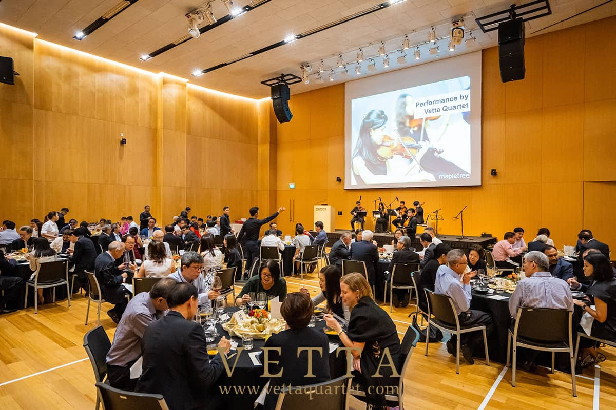 Live String Quartet Performing for Showcase at Mapletree Business City