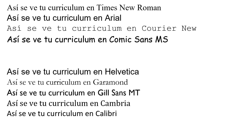 tipos de letra en curriculum