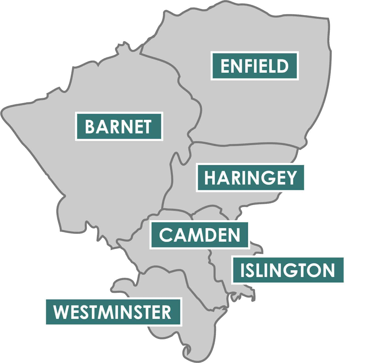 Map - , Barnet, Camden, Enfield, Haringey, Islington & Westminster