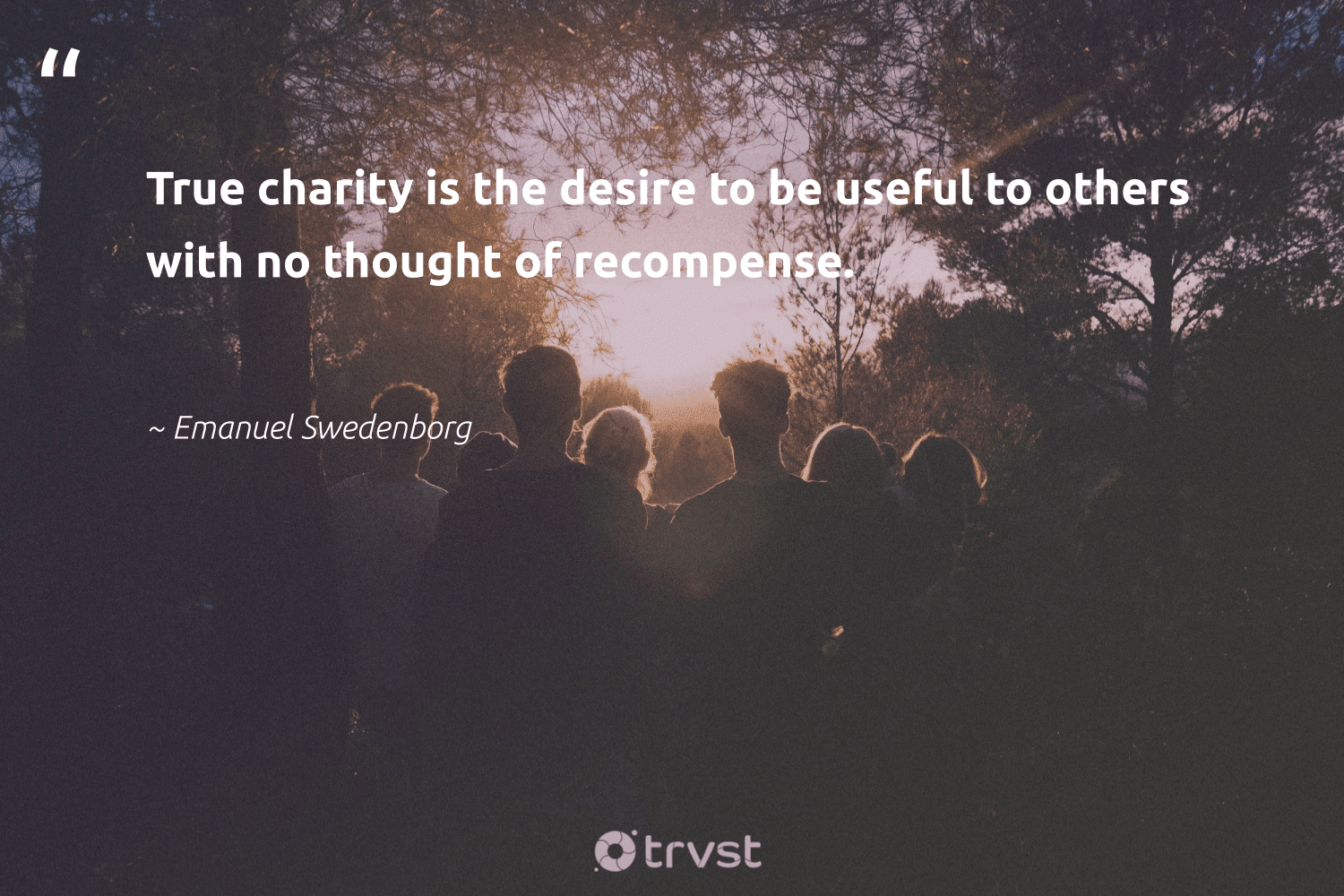 """""""True charity is the desire to be useful to others with no thought of recompense.""""  - Emanuel Swedenborg #trvst #quotes #dogood #dosomething #strongercommunities #impact #bethechange #dotherightthing #giveback #thinkgreen #equalopportunity #socialimpact"""
