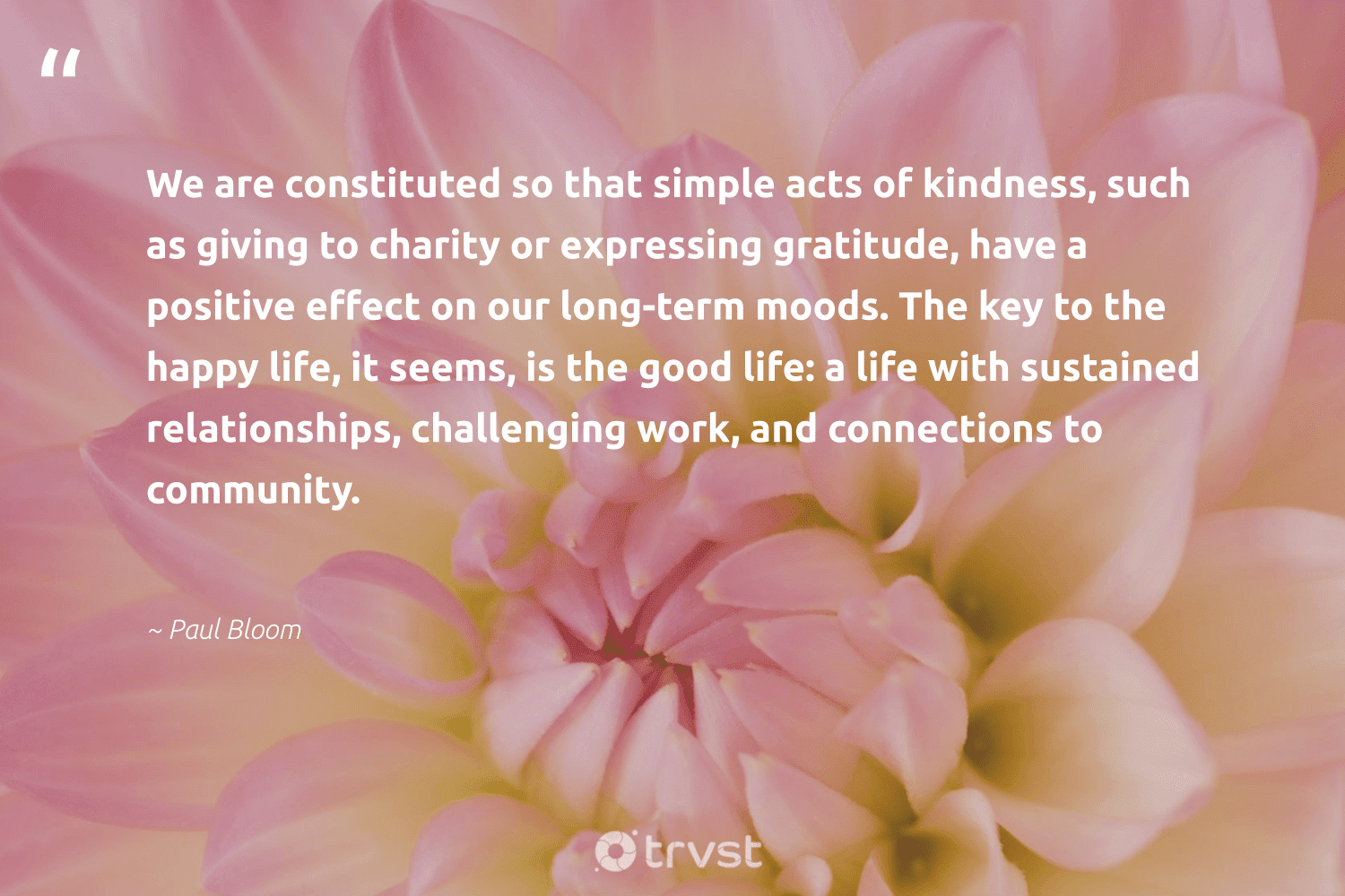 """""""We are constituted so that simple acts of kindness, such as giving to charity or expressing gratitude, have a positive effect on our long-term moods. The key to the happy life, it seems, is the good life: a life with sustained relationships, challenging work, and connections to community.""""  - Paul Bloom #trvst #quotes #gratitude #happy #equalopportunity #dotherightthing #weareallone #bethechange #dogood #changetheworld #workingtogether #thinkgreen"""