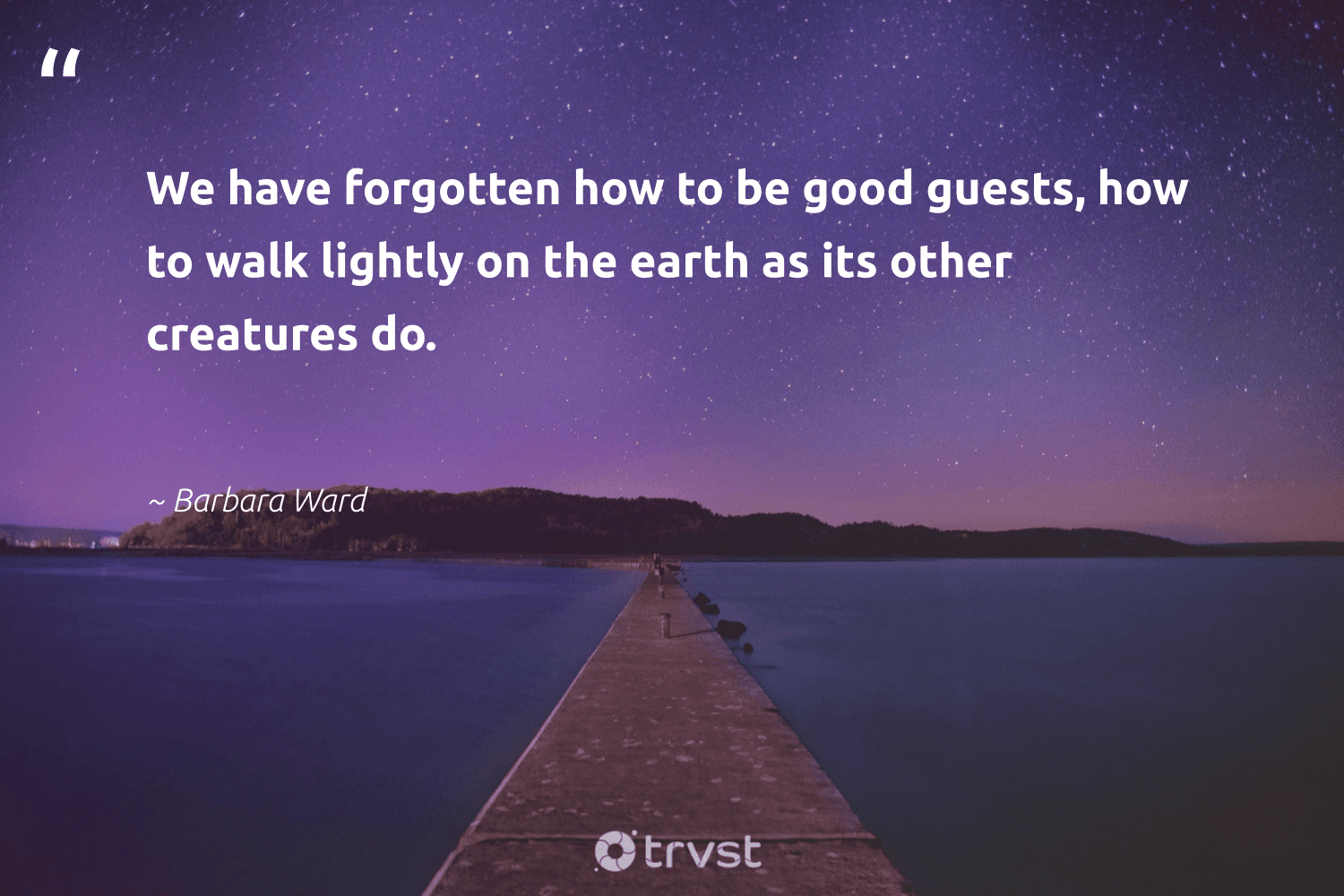 """""""We have forgotten how to be good guests, how to walk lightly on the earth as its other creatures do.""""  - Barbara Ward #trvst #quotes #environment #earth #sustainable #volunteer #impact #nature #climatechange #green #bethechange #conservation"""