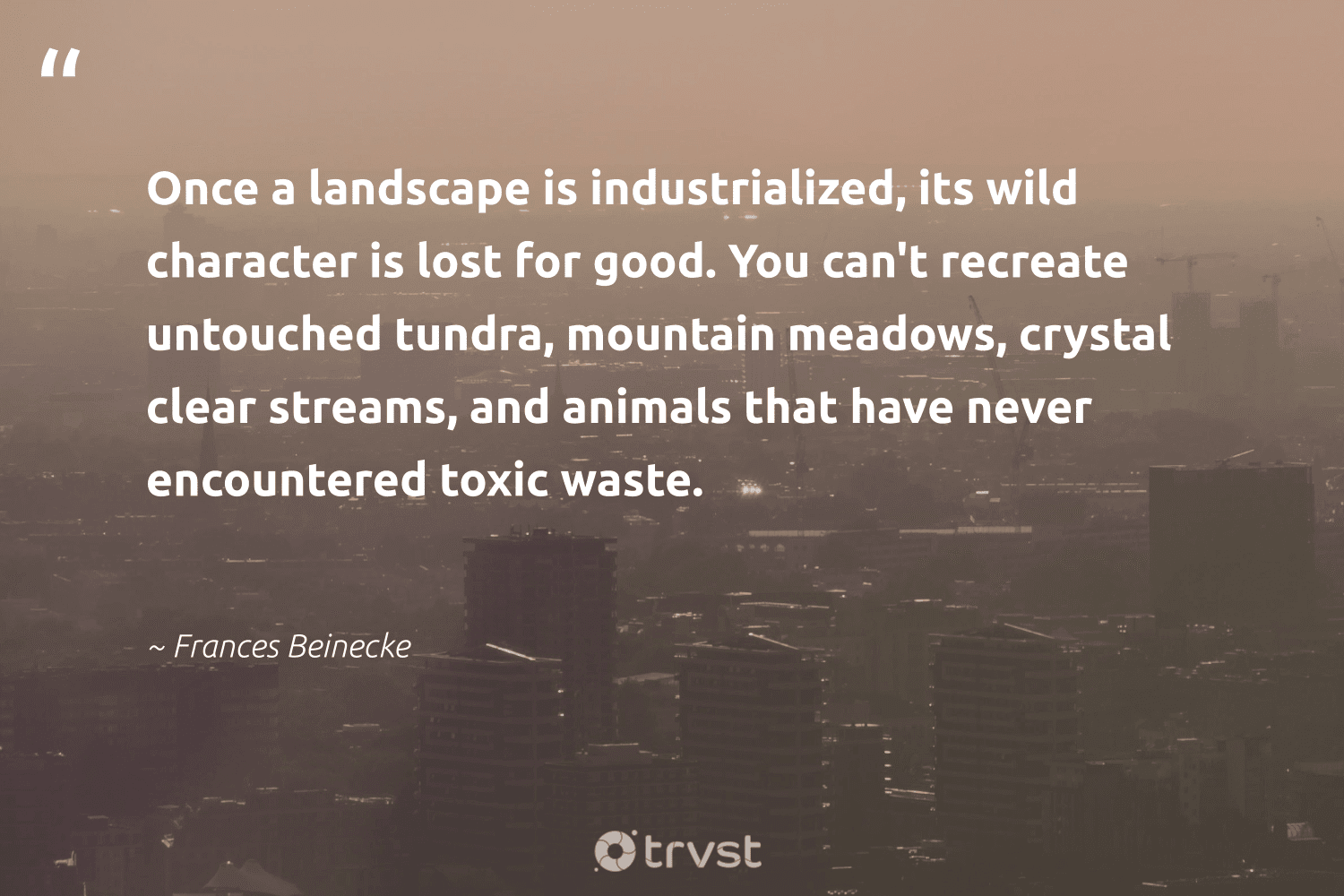 """""""Once a landscape is industrialized, its wild character is lost for good. You can't recreate untouched tundra, mountain meadows, crystal clear streams, and animals that have never encountered toxic waste.""""  - Frances Beinecke #trvst #quotes #pollute #waste #mountain #toxic #animals #spill #gogreen #climatechange #thinkgreen #pollution"""