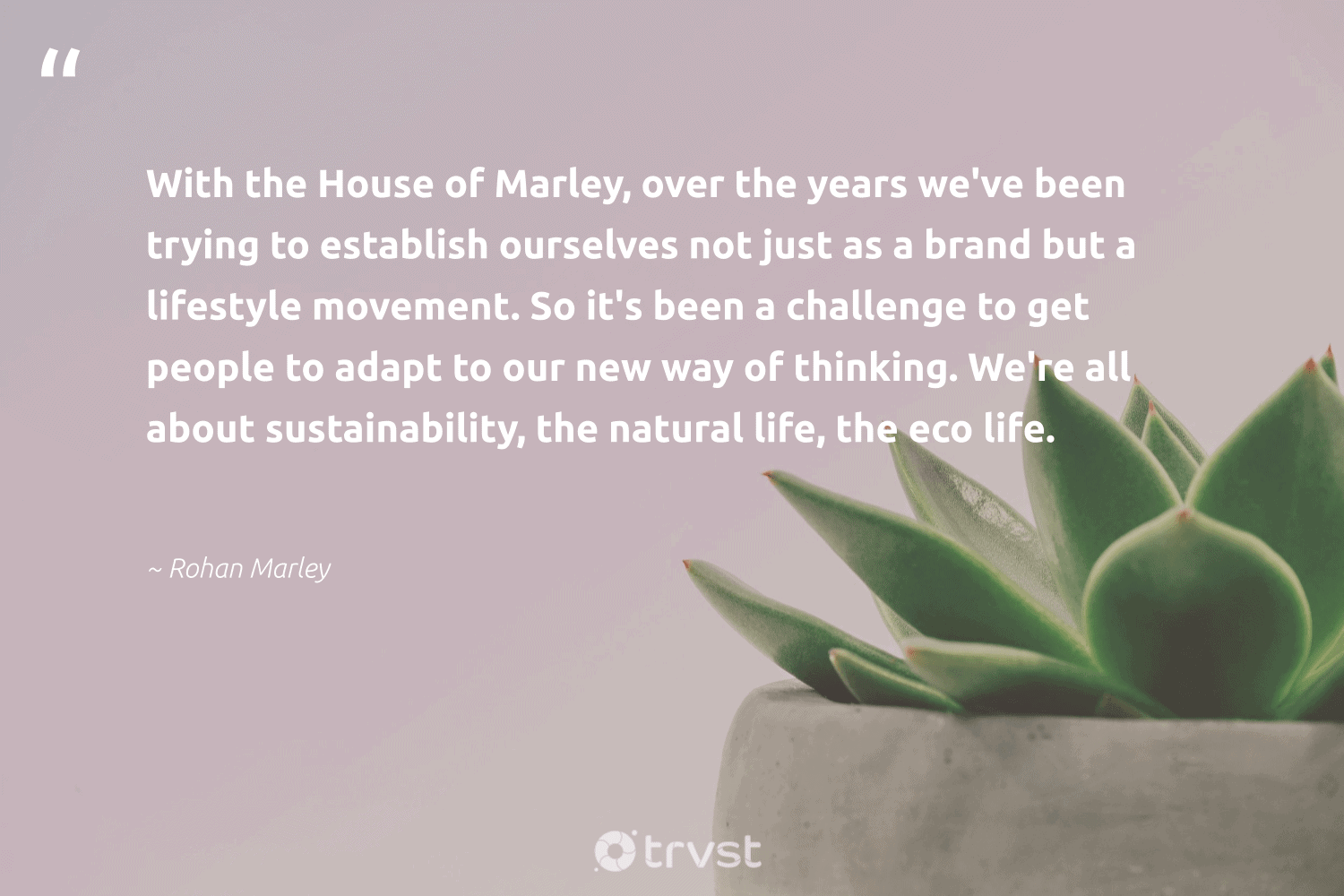 """""""With the House of Marley, over the years we've been trying to establish ourselves not just as a brand but a lifestyle movement. So it's been a challenge to get people to adapt to our new way of thinking. We're all about sustainability, the natural life, the eco life.""""  - Rohan Marley #trvst #quotes #sustainability #eco #natural #lifestyle #ecofriendly #fashion #bethechange #ecoconscious #sustainableliving #sustainable"""
