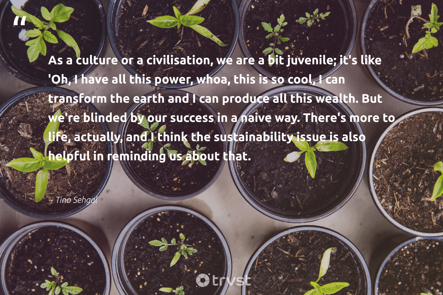 """""""As a culture or a civilisation, we are a bit juvenile; it's like 'Oh, I have all this power, whoa, this is so cool, I can transform the earth and I can produce all this wealth. But we're blinded by our success in a naive way. There's more to life, actually, and I think the sustainability issue is also helpful in reminding us about that.""""  - Tino Sehgal #trvst #quotes #sustainability #earth #success #planet #greenliving #wildernessnation #gogreen #nature #sustainable #climatechange"""