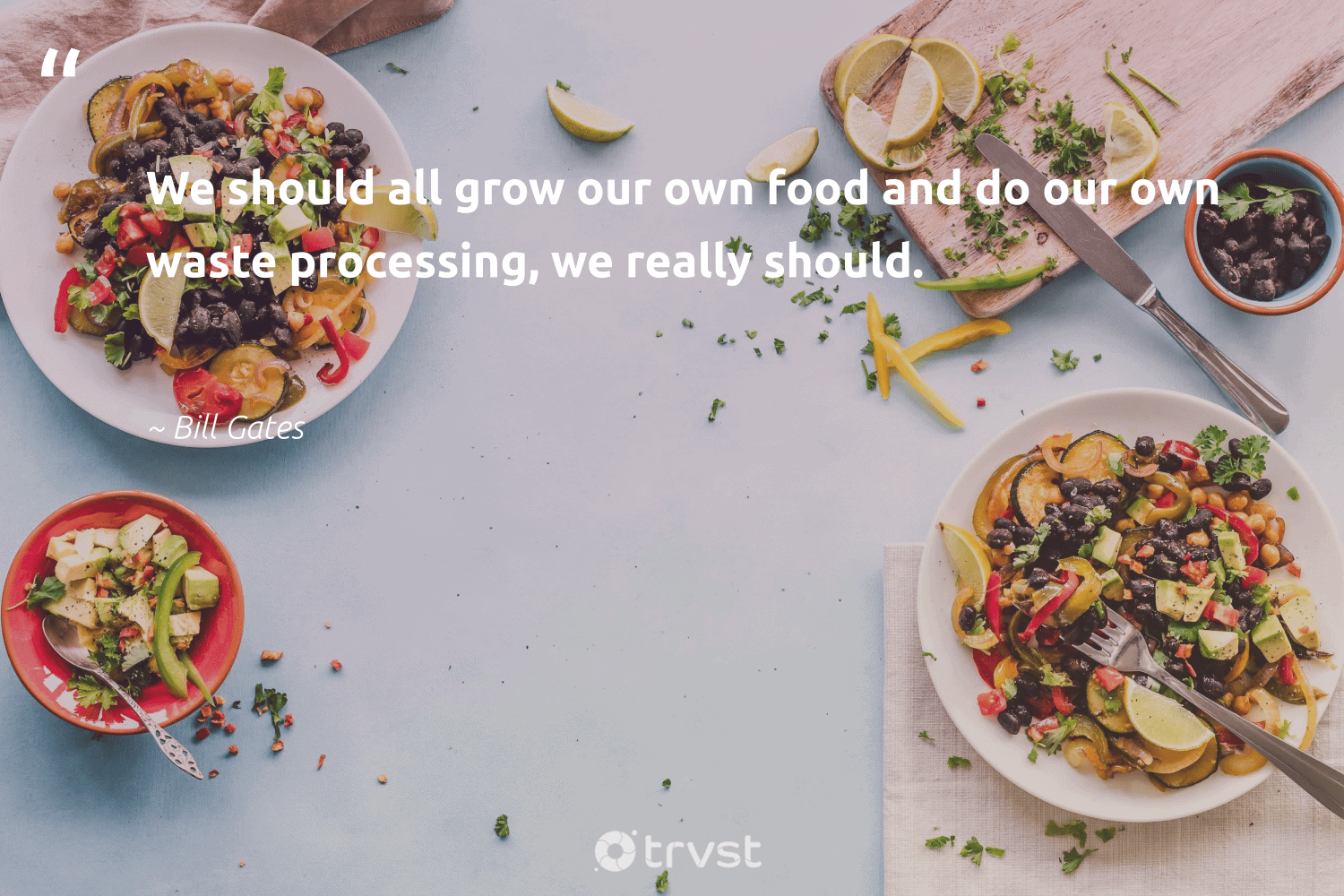 """""""We should all grow our own food and do our own waste processing, we really should.""""  - Bill Gates #trvst #quotes #waste #food #hunger #carefornature #sustainablefutures #thinkgreen #hungry #planetearthfirst #equalrights #gogreen"""