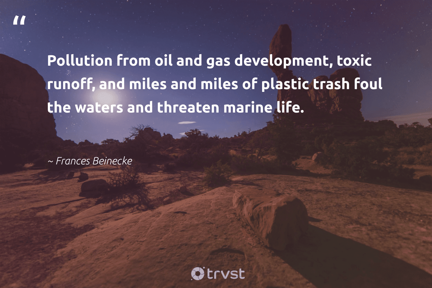 """""""Pollution from oil and gas development, toxic runoff, and miles and miles of plastic trash foul the waters and threaten marine life.""""  - Frances Beinecke #trvst #quotes #trash #plastic #oil #gas #pollution #toxic #marinelife #marine #development #scubadiving"""