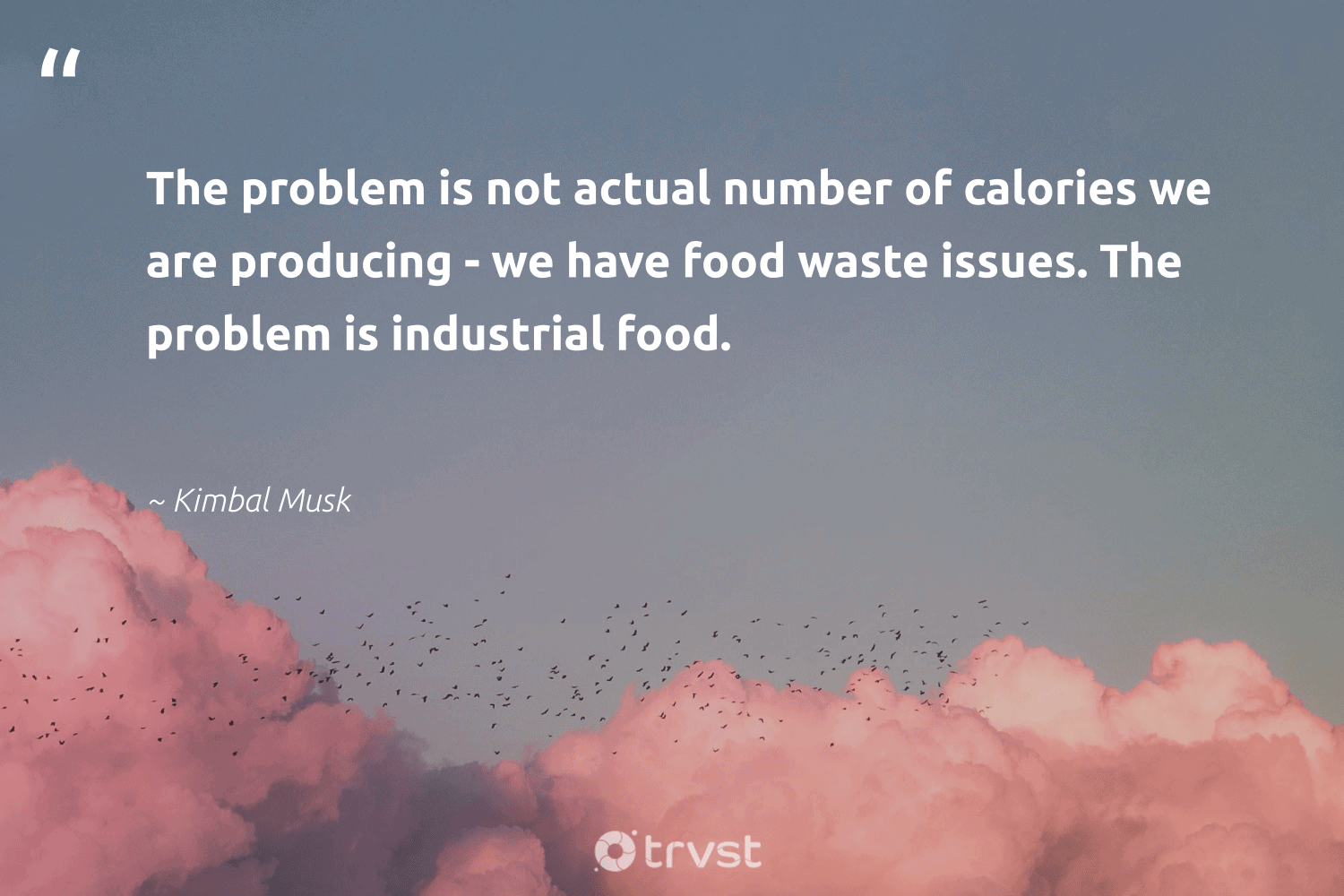"""""""The problem is not actual number of calories we are producing - we have food waste issues. The problem is industrial food.""""  - Kimbal Musk #trvst #quotes #foodwaste #waste #food #endhunger #wastenotwantnot #greenliving #dogood #savefood #wastefree #saveourplanet"""