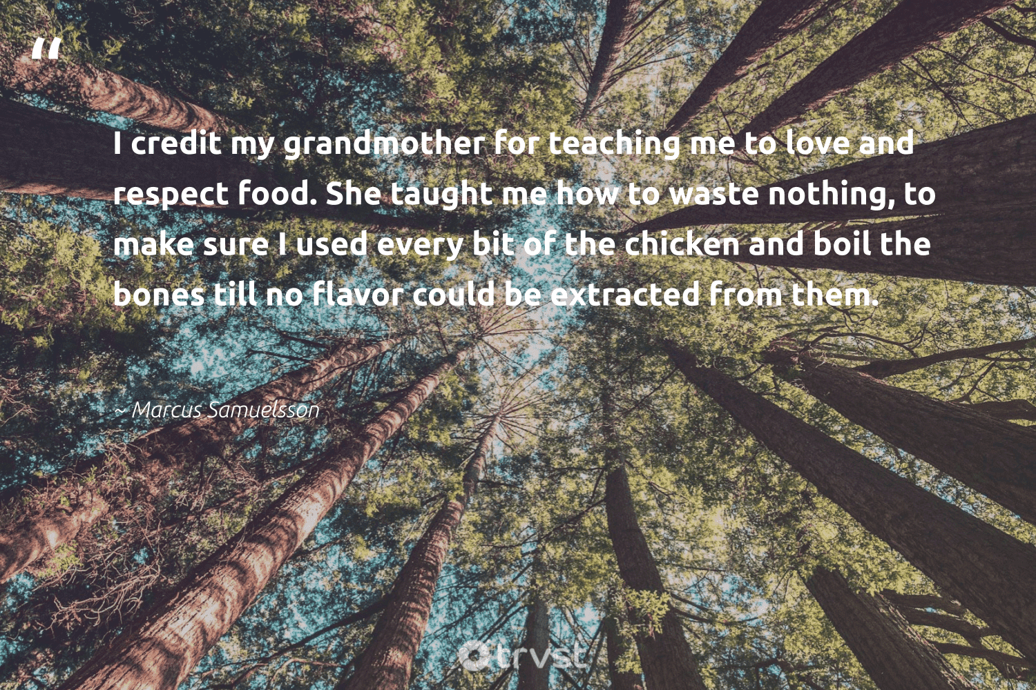"""""""I credit my grandmother for teaching me to love and respect food. She taught me how to waste nothing, to make sure I used every bit of the chicken and boil the bones till no flavor could be extracted from them.""""  - Marcus Samuelsson #trvst #quotes #love #waste #food #foodforthepoor #ecoactivism #sustainablefutures #dosomething #hunger #sustainability #makeadifference"""