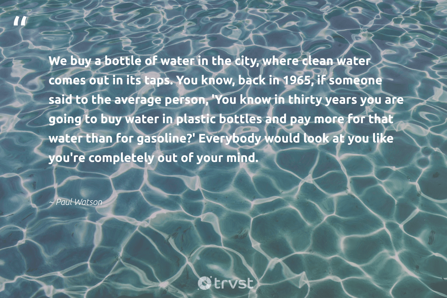 """""""We buy a bottle of water in the city, where clean water comes out in its taps. You know, back in 1965, if someone said to the average person, 'You know in thirty years you are going to buy water in plastic bottles and pay more for that water than for gasoline?' Everybody would look at you like you're completely out of your mind.""""  - Paul Watson #trvst #quotes #plasticwaste #plastic #water #saynotoplastic #wastefree #ecoactivism #changetheworld #plasticfree #dogood #thinkgreen"""