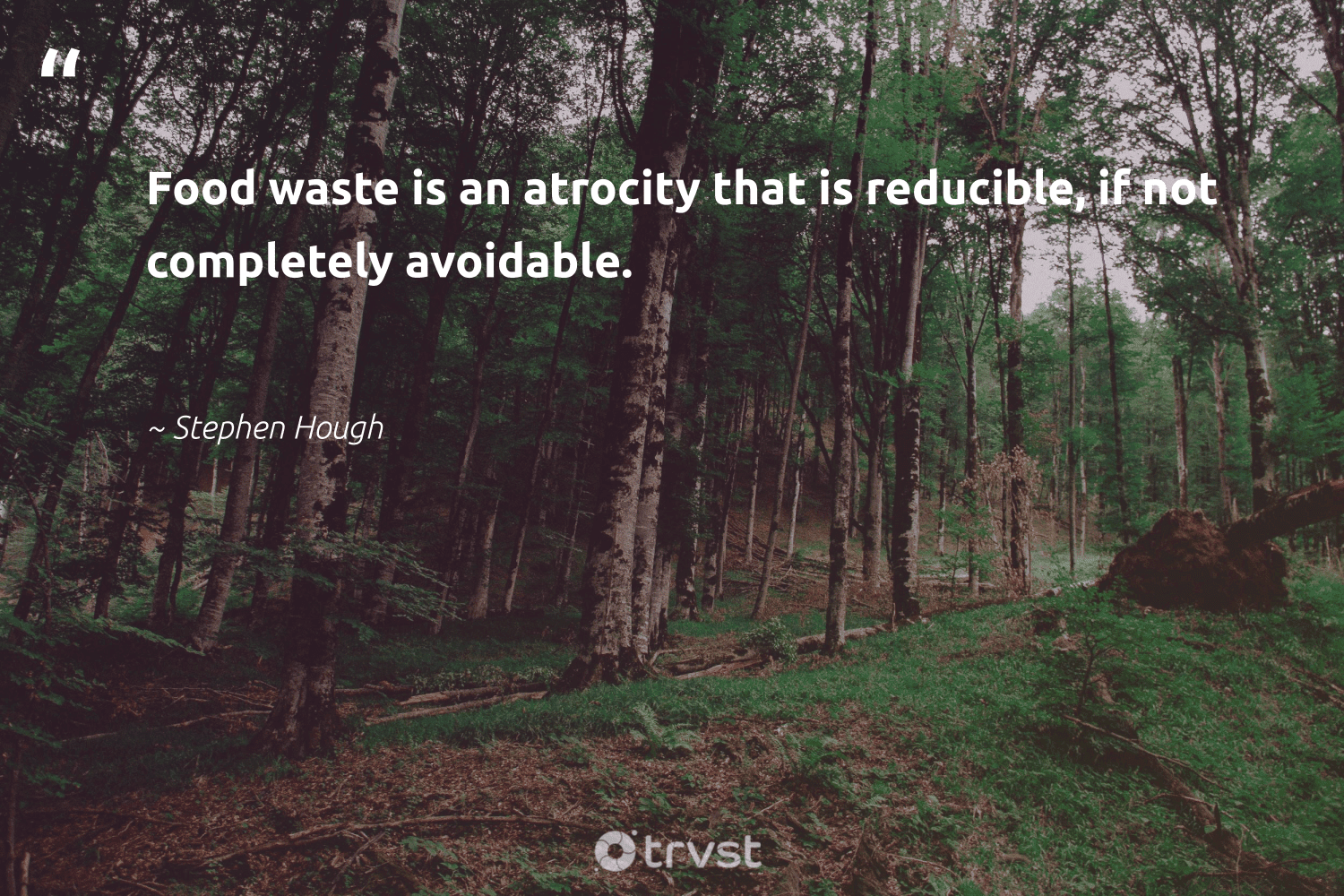 """""""Food waste is an atrocity that is reducible, if not completely avoidable.""""  - Stephen Hough #trvst #quotes #foodwaste #waste #food #sustainablefood #dosomething #ecoactivism #socialimpact #endhunger #gogreen #bethechange"""