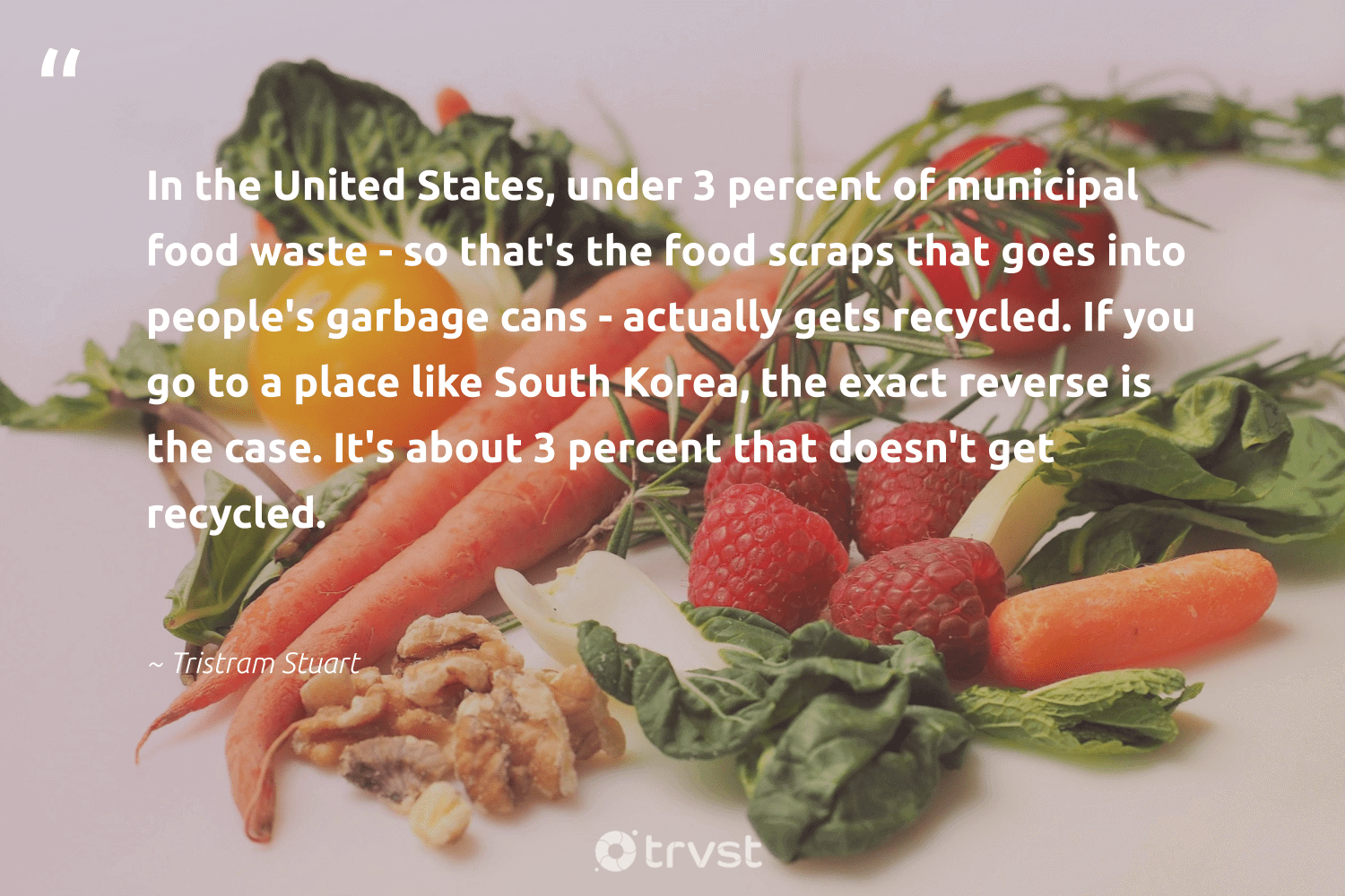 """""""In the United States, under 3 percent of municipal food waste - so that's the food scraps that goes into people's garbage cans - actually gets recycled. If you go to a place like South Korea, the exact reverse is the case. It's about 3 percent that doesn't get recycled.""""  - Tristram Stuart #trvst #quotes #foodwaste #waste #garbage #recycled #food #savefood #dotherightthing #loveourplanet #takeaction #fighthunger"""