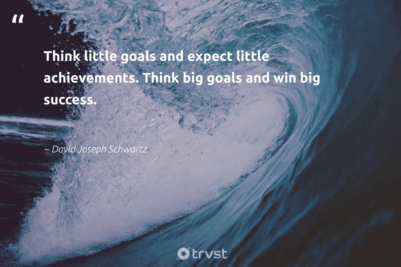 """Think little goals and expect little achievements. Think big goals and win big success.""  - David Joseph Schwartz #trvst #quotes #goals #success #focus #creativemindset #successquotes #futureofwork #thinkgreen #motivational #motivation #failfast"