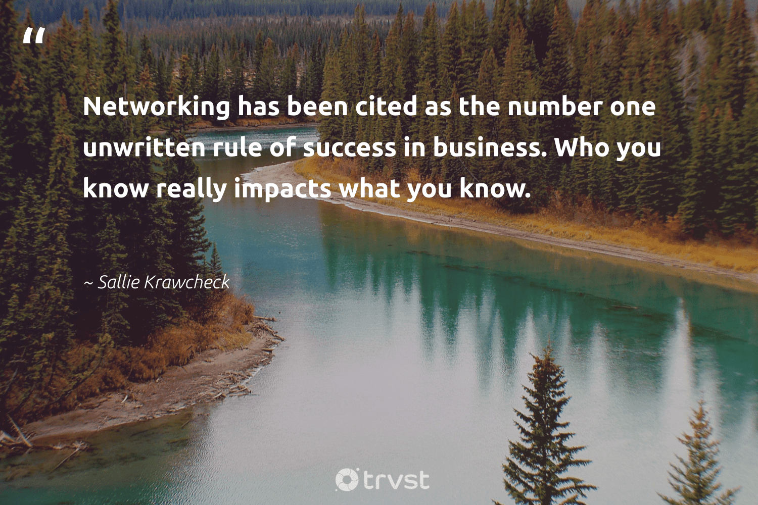 """""""Networking has been cited as the number one unwritten rule of success in business. Who you know really impacts what you know.""""  - Sallie Krawcheck #trvst #quotes #impacts #success #focus #workhard #softskills #dosomething #motivation #successtips #futureofwork #socialchange"""