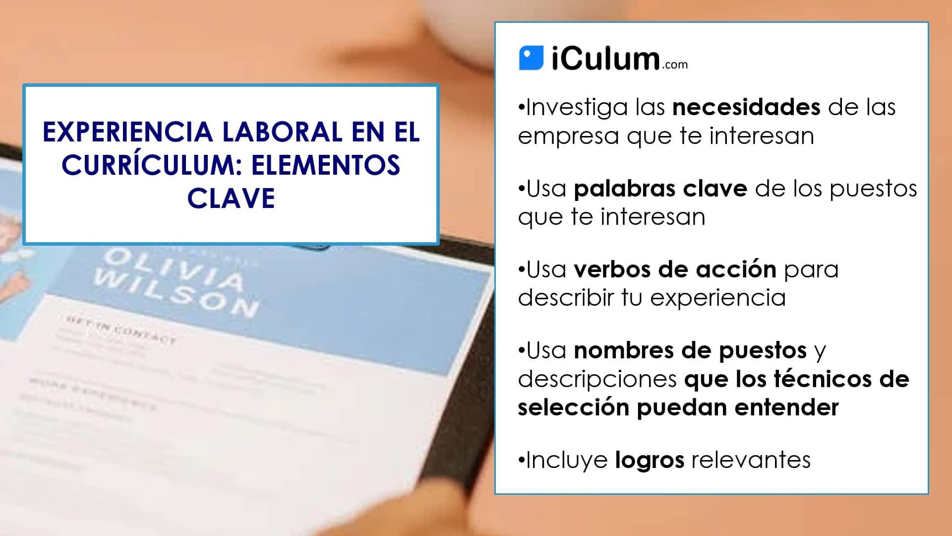 Experiencia Laboral en el Curriculum Elementos Clave iCulum