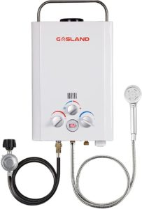 Tankless Water Heater, GASLAND Outdoors BE158 1.58GPM 6L Outdoor Portable Gas Water Heater, Propane Water Heater, Overheating Protection, Easy to Install, Use for RV Cabin Barn Camping Boat, White