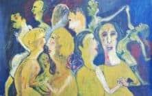 Ibrahim Al Mozain, Party (2016), acrylic on paper, 50 x 70 cm