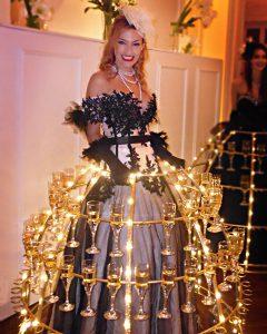 robe à champagne, robe beige et noire